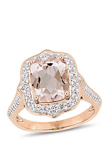 2.58 ct. t.w. Morganite and 5/8 ct. t.w. Diamond Halo Engagement Ring in 14k Rose Gold