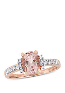 1 1/7 ct. t.w. Morganite and 0.07 ct. t.w. Diamond Accent Ring in 10k Rose Gold