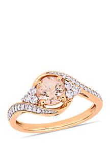 Belk & Co. 1 1/10 ct. t.w. Morganite, White Topaz and 1/10 ct. t.w. Diamond Crossover Ring in 10k Rose Gold