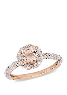 4/5 ct. t.w. Morganite and 1/4 ct. t.w. Diamond Floral Halo Ring in 14k Rose Gold