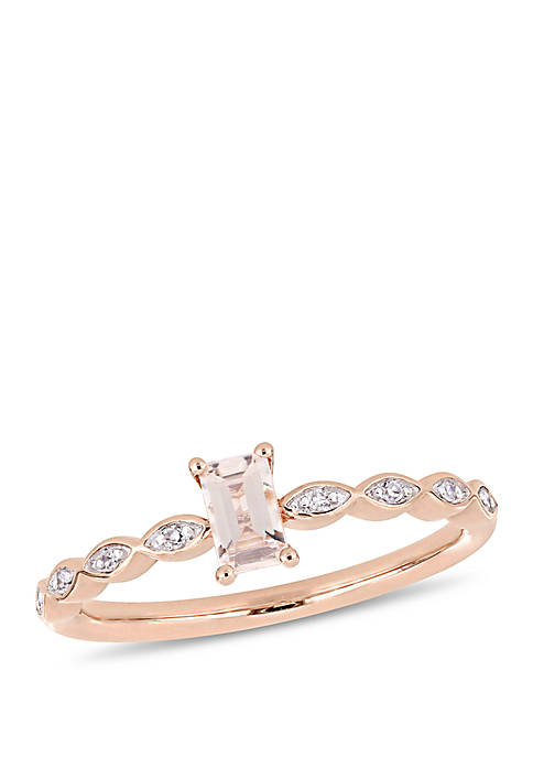 1/3 ct. t.w. Morganite and 0.04 ct. t.w. Diamond Accent Vintage Engagement Ring in 10k Rose Gold