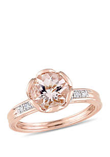 1.75 ct. t.w. Morganite and 1/8 ct. t.w. Diamond Floral Ring in 10k Rose Gold