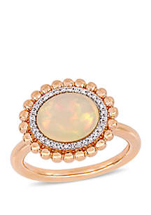2.75 ct. t.w. Oval-Cut Ethiopian Blue-Hued Opal and 1/10 ct. t.w. Diamond Halo Ring in 14k Rose Gold