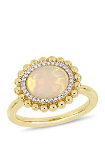 2 ct. t.w. Oval-Cut Yellow Ethiopian Opal and 1/10 ct. t.w. Diamond Halo Ring in 14k Yellow Gold