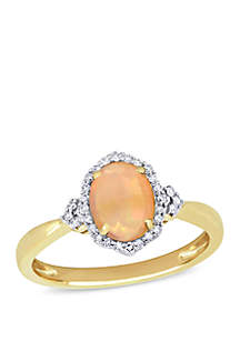 3/4 ct. t.w. Ethiopian Opal and 1/8 ct. t.w. Diamond Halo Ring 10k Yellow Gold