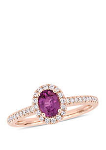 3/4 ct. t.w. Oval Pink Sapphire and 1/5 ct. t.w. Diamond Halo Ring in 14k Rose Gold