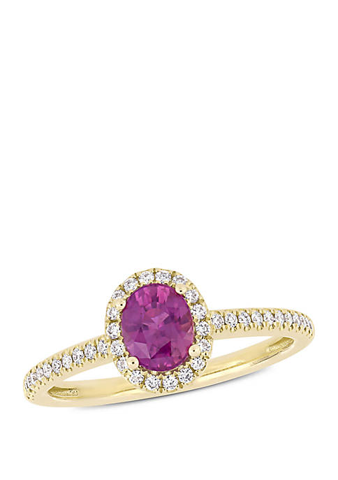 7/8 ct. t.w. Oval Pink Sapphire and 1/5 ct. t.w. Diamond Halo Engagement Ring in 14k Yellow Gold