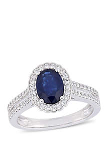 1 5/8 ct. tw. Oval Sapphire and 1/3 ct. t.w. Diamond Floral Halo Double Row Ring in 14k White Gold