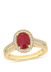 1.38 ct. t.w. Oval Ruby and 1/3 ct. t.w. Diamond Floral Halo Double Row Ring in 14k Yellow Gold