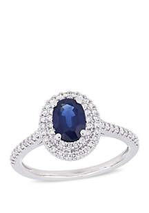 1 ct. t.w. Oval Sapphire and 1/3 ct. t.w. Diamond Double Halo Ring in 14k White Gold