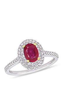 7/8 ct. t.w. Oval Ruby and 1/3 ct. t.w. Diamond Double Halo Ring in 14k Two-Tone White & Yellow Gold