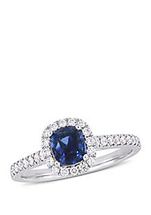 1.33 ct. t.w. Sapphire and 1/3 ct. t.w. Diamond Halo Ring in 14k White Gold
