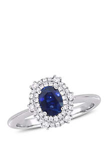 7/8 ct. t.w. Oval Sapphire and 1/4 ct. t.w. Diamond Double Halo Ring in 14k White Gold