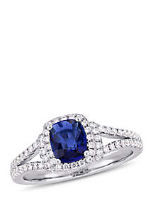 1 ct. t.w. Sapphire and 1/2 ct. t.w. Diamond Halo Split Shank Ring in 14k White Gold