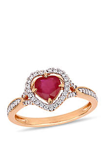 1 c.t. t.w. Ruby and 1/4 ct. t.w. Diamond Floating Halo Heart Ring 14K Rose Gold