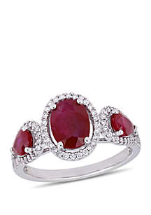 2.17 ct. t.w. Ruby and 1/3 ct. t.w. Diamond Three Stone Ring in 14K White Gold