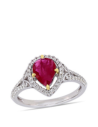 651a93cf15c56 1.33 ct. t.w. Ruby and 1/3 ct. t.w. Diamond Teardrop Engagement Ring in 14K  2 Tone White and Yellow Gold