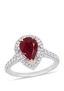 2.25 ct. t.w. Ruby and 3/4 ct. t.w Diamond Double Halo Ring in 14K 2 Tone White and Rose Gold