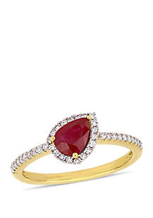 7/8 ct. t.w. Ruby and 1/5 ct. t.w. Diamond Tilted Teardrop Halo Ring in 14K Yellow Gold