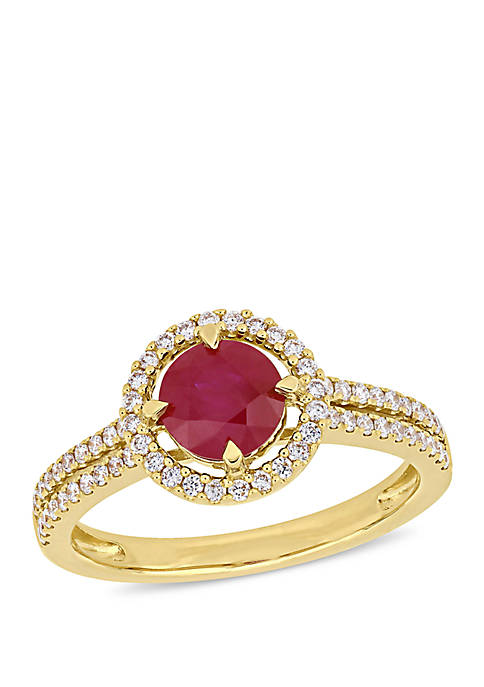 1.17 ct. t.w. Ruby and 1/3 ct. t.w. Diamond Halo Double Row Engagement Ring in 14K Yellow Gold