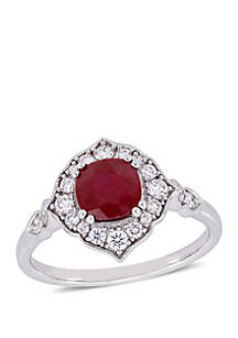 Belk & Co. 1.25 ct. t.w. Ruby and 1/3 ct. t.w. Diamond Floral Halo Ring in 14K White Gold
