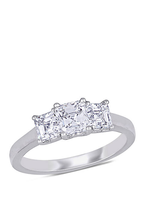 1.5 ct. t.w. Asscher-Cut Diamond 3-Stone Engagement Ring in 14k White Gold