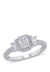 1 ct. t.w. Radiant and Trapezoid-Cut Diamond 3-Stone Halo Engagement Ring in 14k White Gold