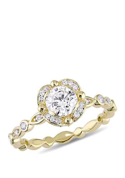 3/4 ct. t.w. Round-Cut Diamond Floral Halo Infinity Band Engagement Ring in 14k Yellow Gold