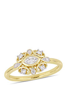 1/4 ct. t.w. Marquise and Round-Cut Diamond Artisanal Ring in 10K Yellow Gold