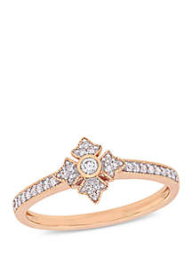 1/6 ct. t.w. Diamond Cluster Engagement Ring in 10K Rose Gold