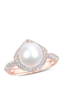 Cultured Freshwater Pearl and 1/4 ct. t.w. Diamond Vintage Halo Ring in 10k Rose Gold