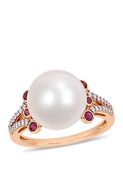 Cultured Freshwater Pearl, Ruby and 1/7 ct. t.w. Diamond Split Shank Ring in 10k Rose Gold