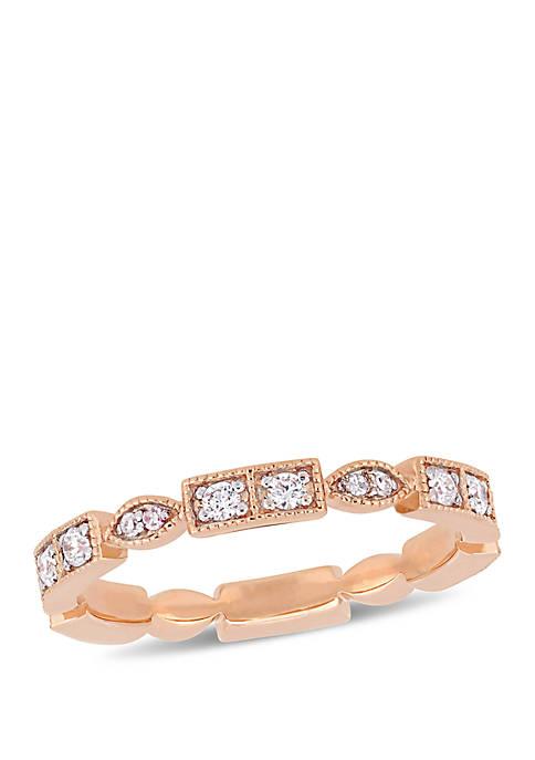 1/3 ct. t.w. Diamond Geometric Anniversary Ring in 10K Rose Gold