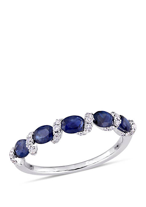 7/8 ct. t.w. Oval Sapphire and 1/4 ct. t.w. Diamond Ribbon Ring in 14k White Gold