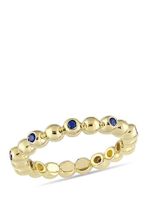 1/5 ct. t.w. Sapphire Beaded Scalloped Eternity Ring in 14k Yellow Gold
