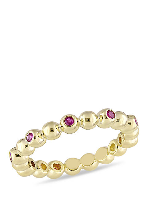 Ruby Beaded Eternity Ring in 14k Yellow Gold