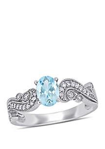Belk & Co. Aquamarine, White Sapphire and 1/10 CT TW Diamond Filigree Ring in 10k White Gold