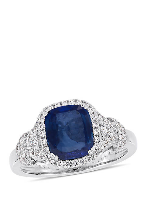 2.5 ct. t.w. Sapphire and 1/2 ct. t.w. Diamond Halo Cocktail Ring in 14k White Gold