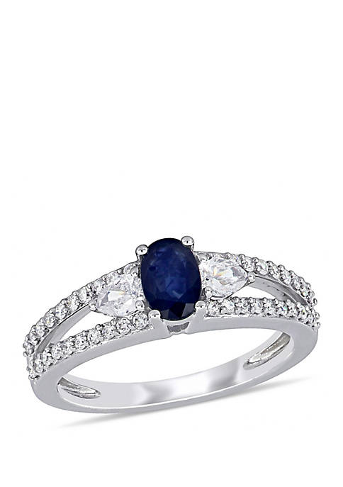 5/8 ct. t.w. Sapphire and 1/2 ct. t.w. Diamond 3-Stone Engagement Ring in 14k White Gold
