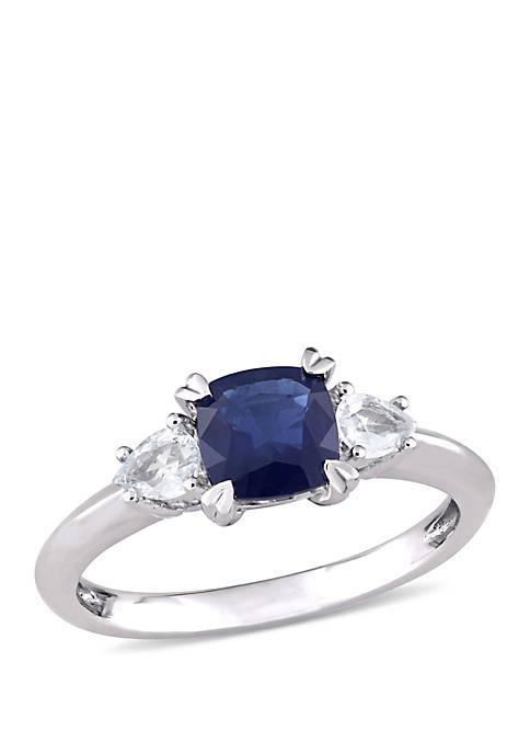Cushion-Cut Sapphire and Pear-Cut White Sapphire 3-Stone Ring in 14k White Gold