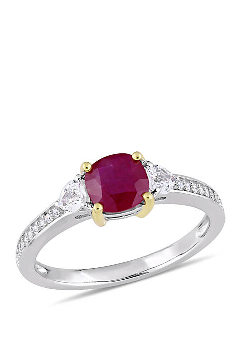 Belk & Co. Ruby and White Sapphire 3-Stone