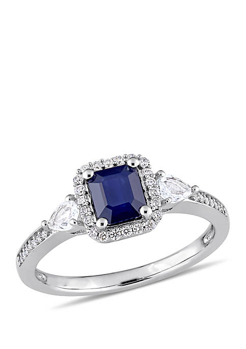 Sapphire, White Sapphire and 1/6 ct. t.w. Diamond Halo 3-Stone Ring in 14k White Gold