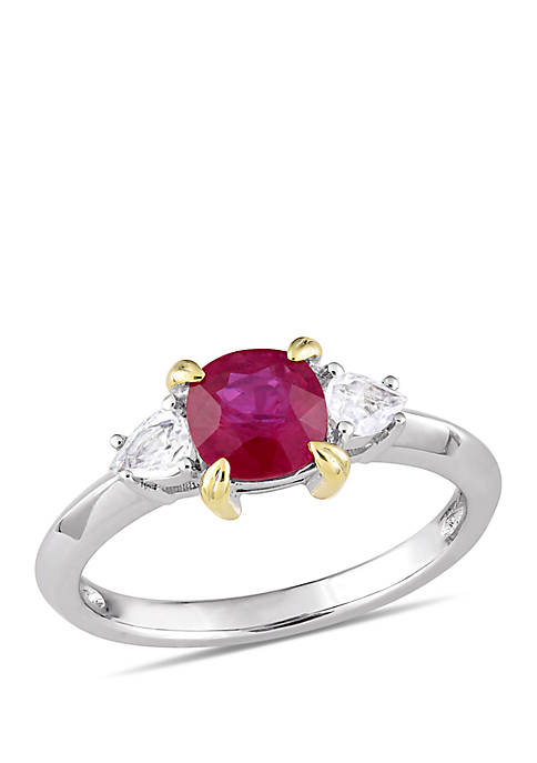 Cushion Cut Ruby and Pear Cut White Sapphire 3 Stone Ring in 14k White Gold with Yellow Gold Prongs