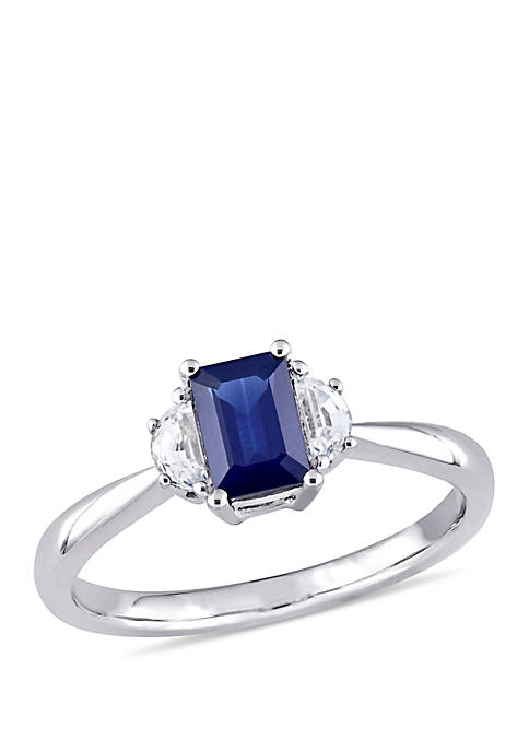 Belk & Co. Octagon Sapphire and Half-Moon White