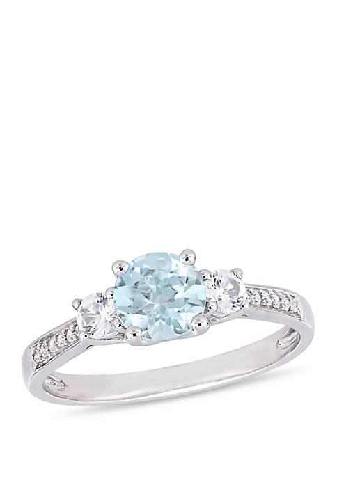 3/4 ct. t.w. Aquamarine, 1/3 ct. t.w. Created White Sapphire, and 0.05 ct. t.w. Diamond 3 Stone Ring in 10K White Gold