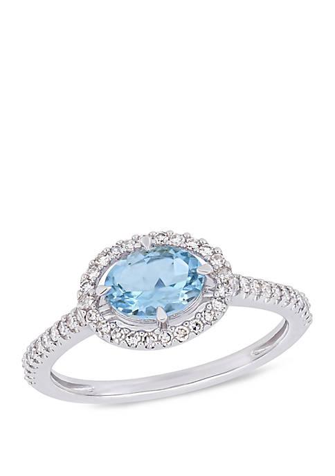 5/8 ct. t.w. Aquamarine and 1/4 ct. t.w. Diamond Halo Ring in 10k White Gold