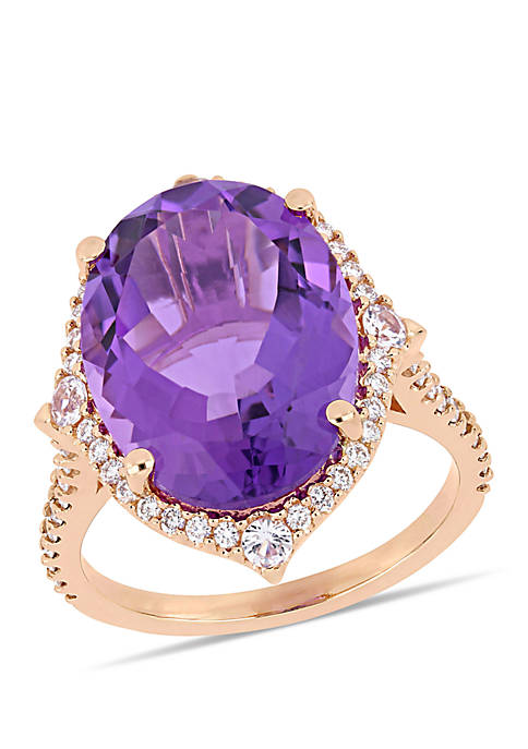 Amethyst, White Sapphire and 3/8 ct. tw. Diamond Halo Cocktail Ring in 14k Rose Gold