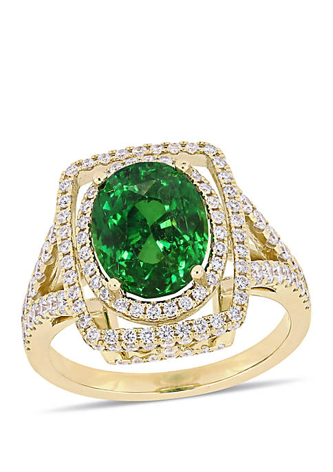 Tsavorite and 7/8 ct. t.w. Diamond Split Shank Halo Cocktail Ring in 14K Yellow Gold