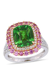 Belk & Co. 5.47 ct. t.w. Tsavorite, 0.99 ct. t.w. Pink Sapphire and 3/8 ct. t.w. Diamond Halo Cocktail Ring in 14K White and Rose Gold