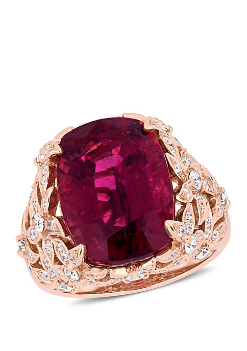 Pink Tourmaline and 7/8 ct. t.w. Diamond Vintage Cocktail Ring in 14K Rose Gold